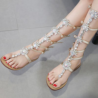 MUQGEW Girl Womens Summer Flat Shining Rhinestones Chain Sandals Boots T strap Shoes Women Footwear #30