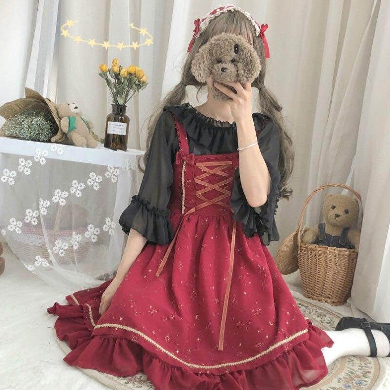 Summer Cute Doughnut Sweet Lolita Dress Fairy Sleeveless Dress Bows  Dress Japanese Cute Bow Lolita Dress
