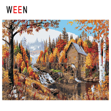 WEEN Waterwheel Diy Painting By Numbers Abstract Forest Cabin Oil Painting On Canvas Fall Cuadros Decoracion Acrylic Wall Art все цены