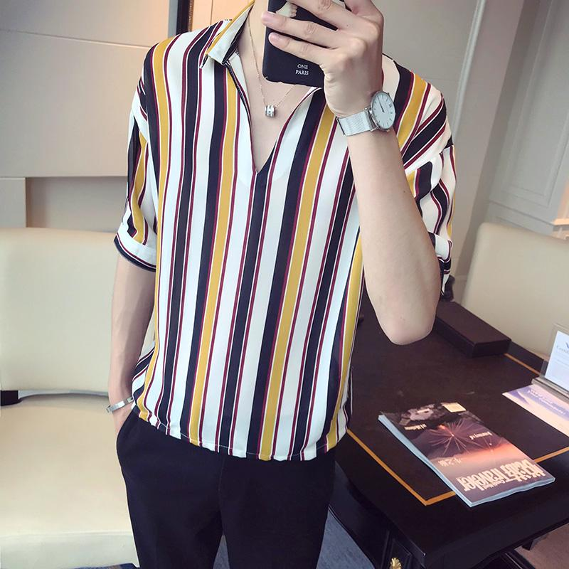 LOLDEAL Summer Five point Sleeve Shirt Social Guy Vertical Stripes V neck Sleeve Shirt Men 39 s Casual Fashion Loose Shirt in Casual Shirts from Men 39 s Clothing