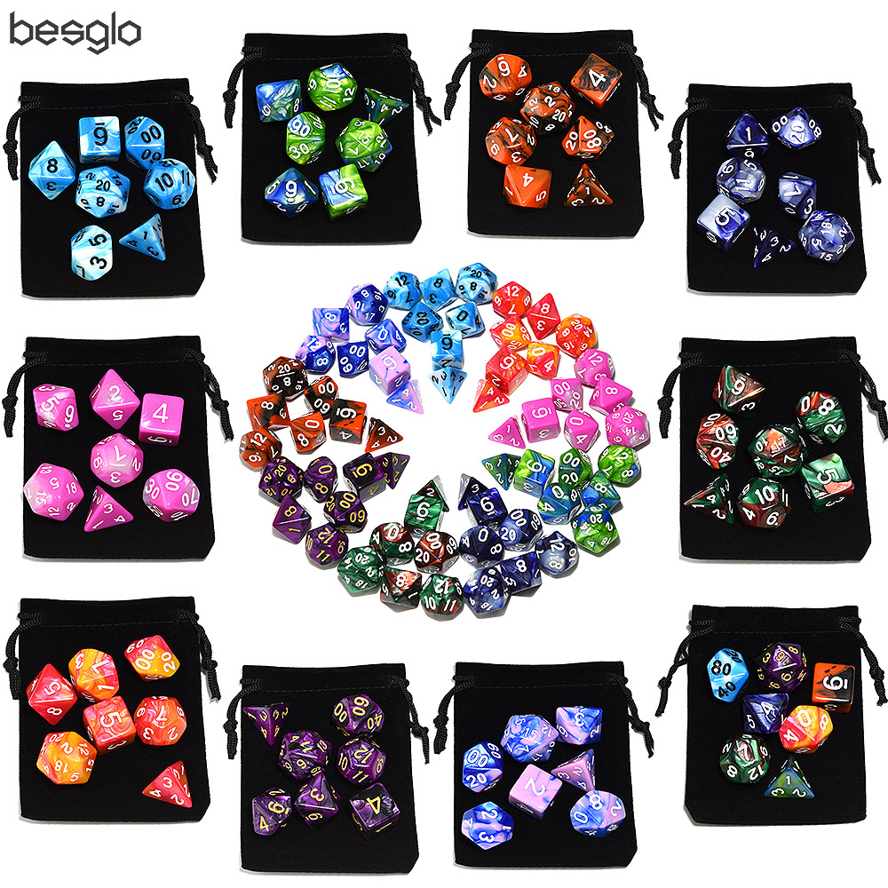 Fresh Polyhedral Marble Dice 7 Die With Velvet Pouch For RPG DnD And Other Game Accessories