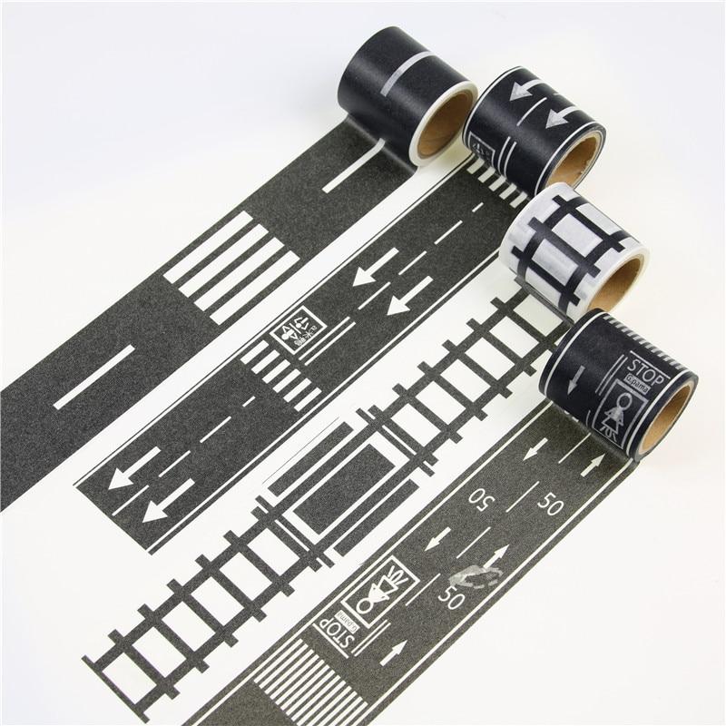 купить 48mmX5m Railway Road Washi Tape Wide Creative Traffic Road Adhesive Masking Tape Road for Kids Toy Car Play по цене 81.6 рублей