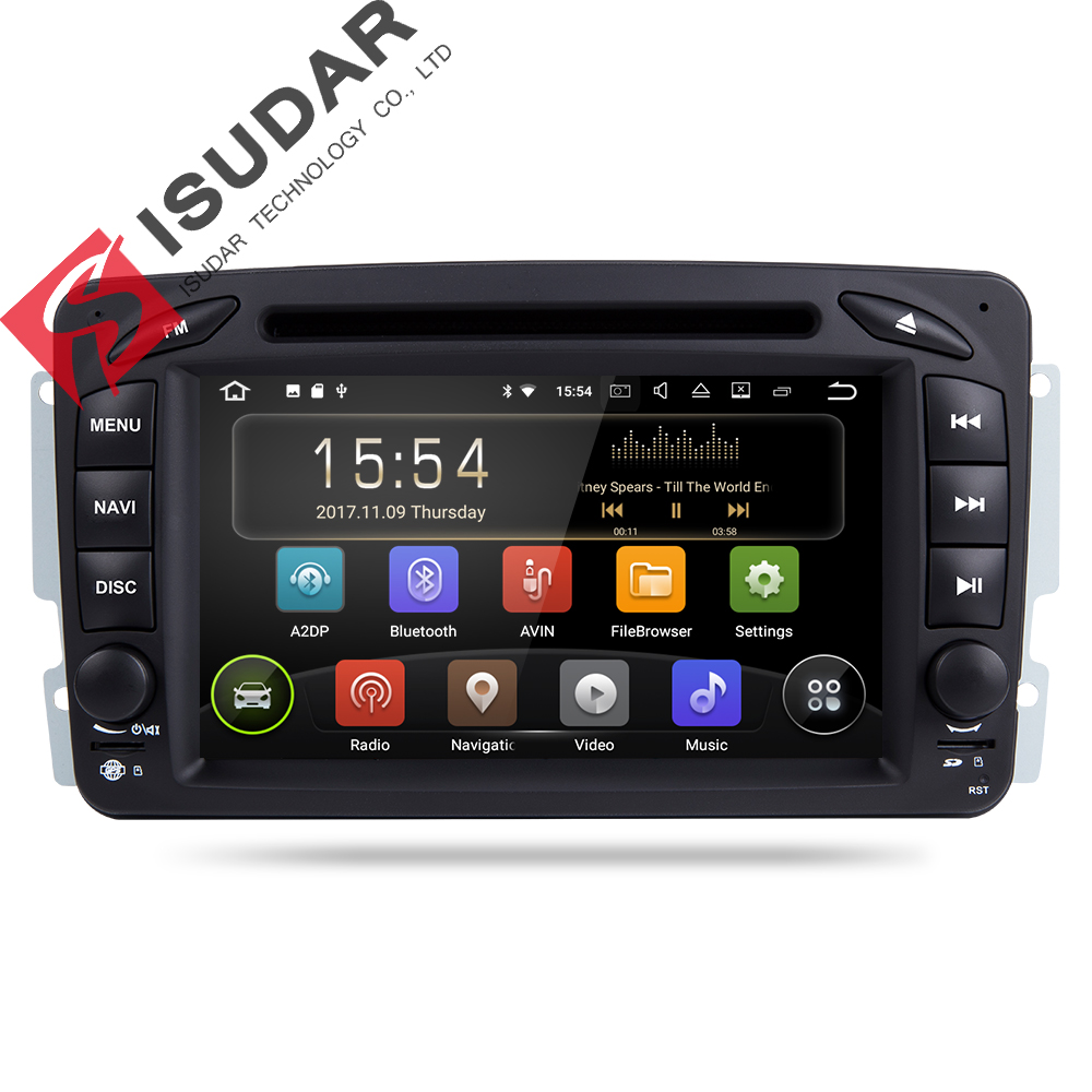 Isudar Voiture lecteur Multimédia Android 8.1 2 Din GPS Autoradio Pour Mercedes/Benz/CLK/W209/W203 /W208/W463/Vaneo/Viano/Vito FM DSP