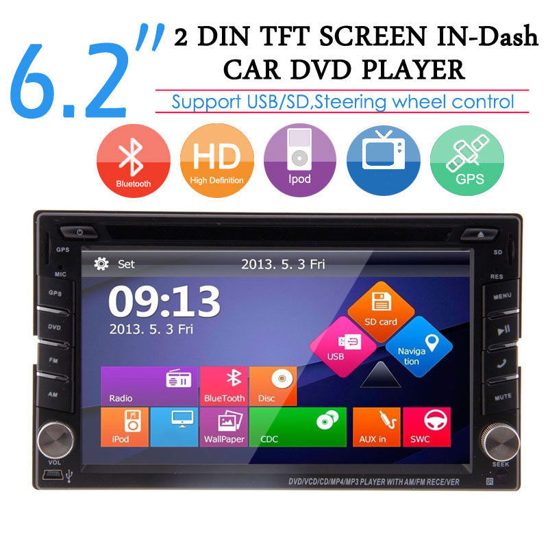 universal GPS Car Stereo 2din Radio BT indash Audio Video 8GB map pre-installed FM AM RDS Remote control Camera Car DVD Player free hd camera included windows 8 0 ui cd dvd player 2 din universal car stereo radio 6 2 inch touchscreen camera remote control