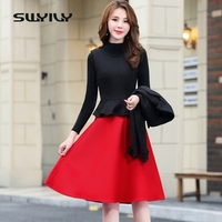 SWYIVY Dress Suits Woman Winter Spring Wool Jacket Coat Dress Suit Female M XXL 2XL Women's Plaid Dress Suits For Ladies Casual