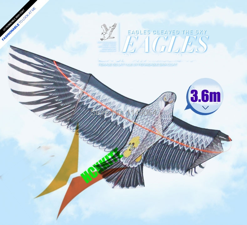 free shipping high quality 360cm large eagle kite ripstop nylon fabric kite flying higher hcxkite factory with handle line power цена 2017