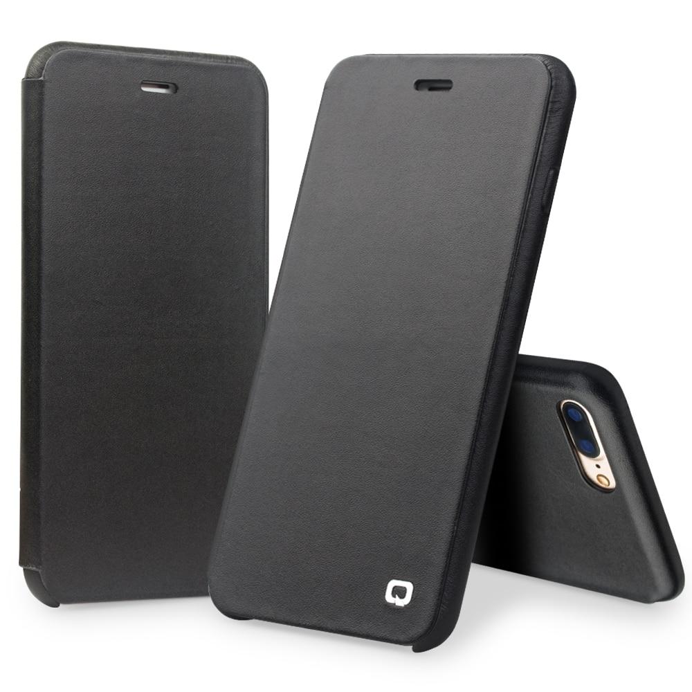 bilder für QIALINO Fall für iPhone 7 4,7 Luxus Echtem Leder Flip Folio Öffnung Abdeckung für iphone 7 mit Versteckten Magnetverschluss