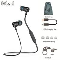 M & J BX325 Nam Châm Kim Loại In-Ear Auriculares Bluetooth Tai Nghe Không Dây Thể Thao Tai Nghe Earbuds với Mic Rảnh Tay