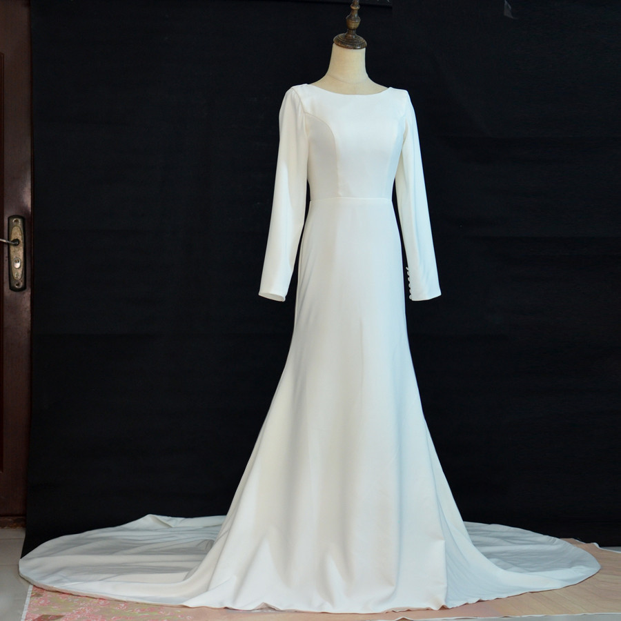 Real Pictures New Arrive White Ivory Bridal Dress Vintage Muslim Plus Sizes Button Zipper Wedding Dress
