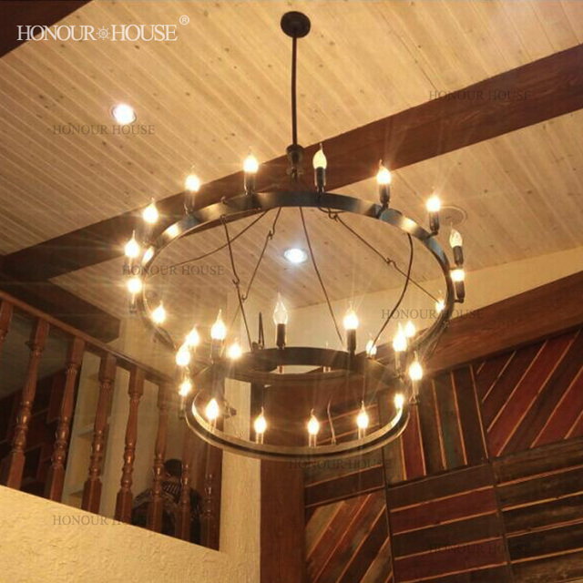 European and american style retro rustic wrought iron chandelier european and american style retro rustic wrought iron chandelier loft industrial round table hotel restaurant bunk aloadofball Choice Image