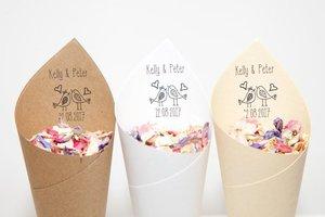 Персонализированные деревенские Свадебные рисовые конусы, свадебные любовные Птицы стиль конфетти конус, свадебные услуги, бесплатный диз...