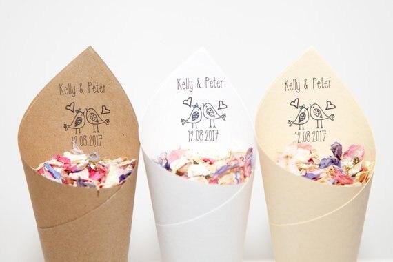 personalized Rustic Wedding rice cone,wedding Love Birds style confetti cone,wedding favor, free design ,wedding confetti toss