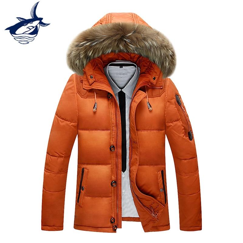 Fashion Brand Tace & Shak New Men's White Duck   Down   Jacket Winter Warm   Down     Coat   Male Fur Collar Overcoat Mens Winter Jackets