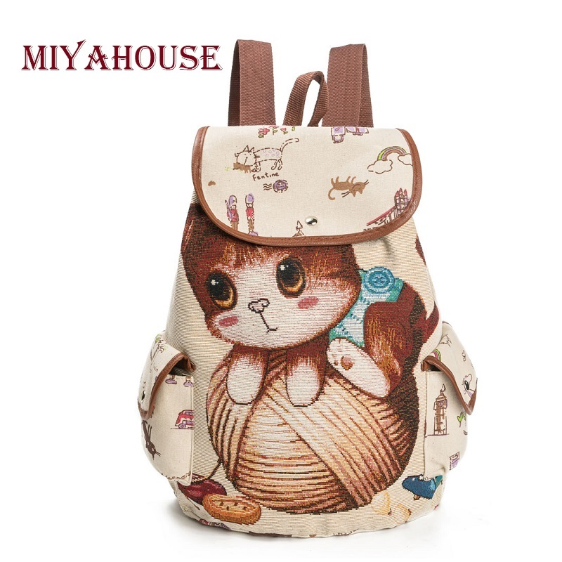 Cartoon Cat Print School Backpack For Teenager Large Canvas School Bag Girls Drawstring Backpack Female