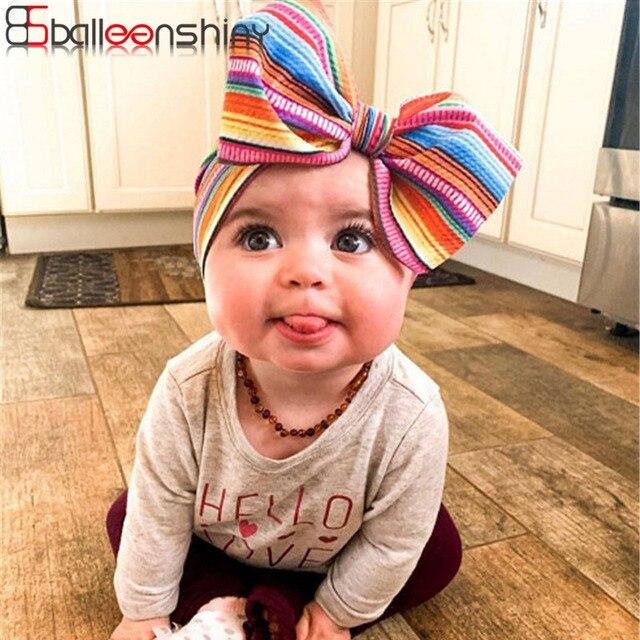 Balleenshiy Printed Baby Headband Lovely Children's Rainbow Corn Kernel Big Bow DIY Hair Band Infant Newborn Photography Props