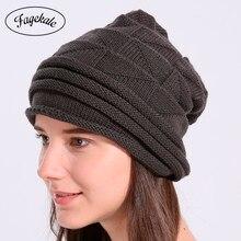 FAGEKALE invierno boina sombrero para las mujeres de punto de señora de la  moda de buena calidad d32738807e7
