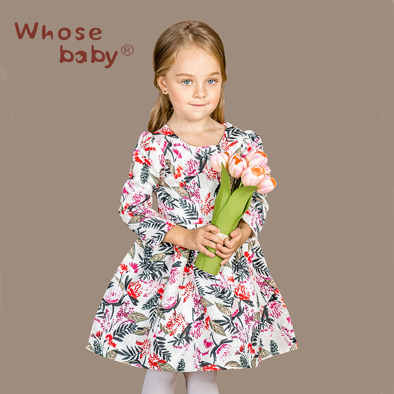 ФОТО New Autumn Winter Red And Green Leaf Printing Girl Long Sleeve DressesPrincess Birthday Party Children Clothing  Kids Clothes