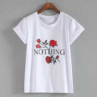 Nothing Letter Rose Print T Shirt Harajuku T Shirt Women 2018 Summer Casual Short Sleeve TShirt