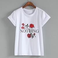 Nothing Letter Rose Print T Shirt Harajuku T Shirt Women 2018 Summer Casual Short Sleeve TShirt