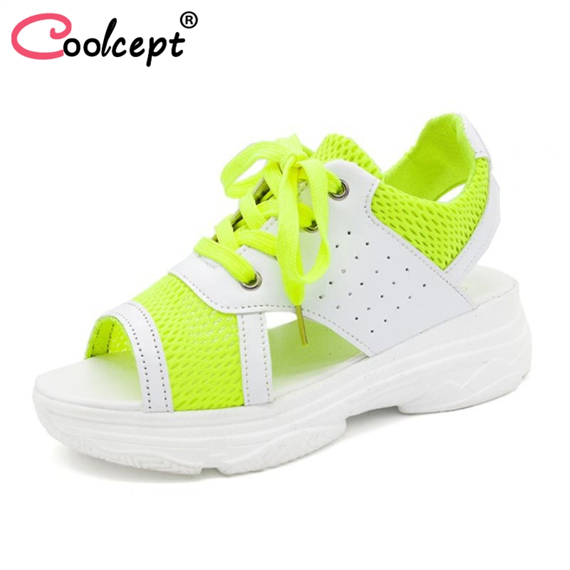 Coolcept Women High Wedges Sandals Open Toe Platform Lace Up Breathable Sandals Summer Daily Shoes Women Footwear Size 35-39 minika women sandals summer shoes breathable lace flats platform wedges lose weight creepers summer sandals cd41