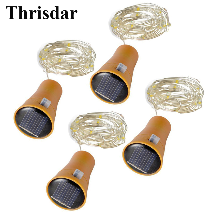 Thrisdar 20pcs Solar Led Bottle Cork Shape String Light Fairy String For Christmas Wedding Party Outdoor