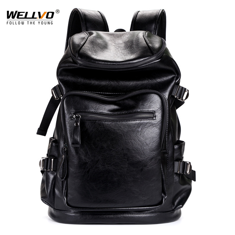 Wellvo Men PU Leather Backpack Teenager Vintage Backpacks for male Korean Japan Style School Laptop Bags Women Shoulder XA137WC