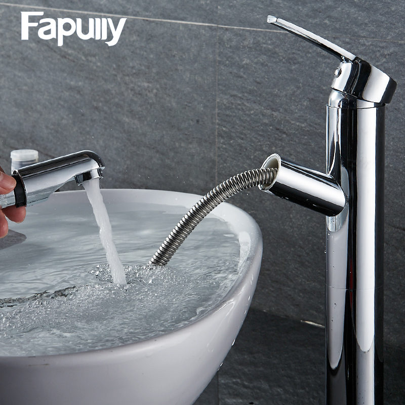 Fapully UPC Pull Down Kitchen Faucet Luxury Out Brass Chrome bathroom Basin Sink