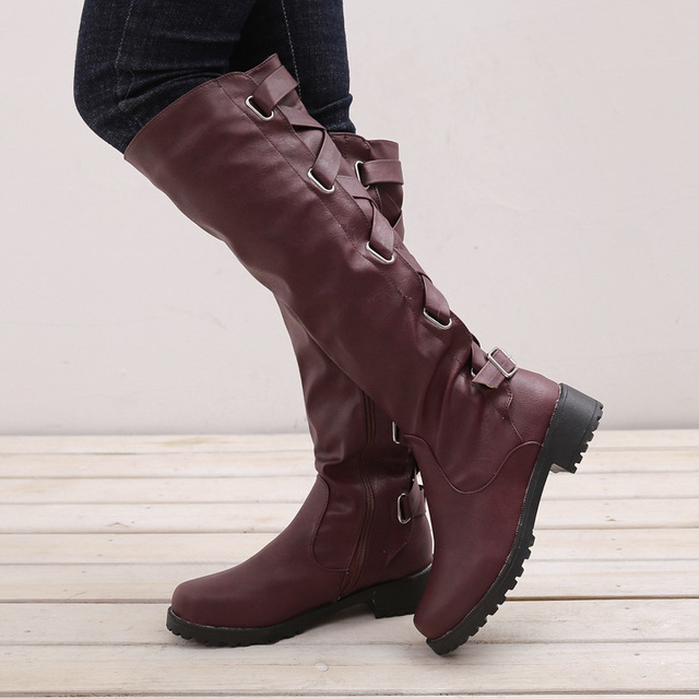 bf5065fe142f Newest Black Women Boots High Boots brand Wearing Metal Belt Buckle Knee High  Boots Low Heels Shoes Woman Plus size 35-43 #C060
