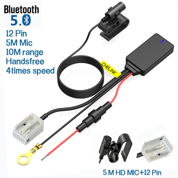 12pin Car Handsfree Wireless Bluetooth 5.0 Module Aux Adapter Dongle Audio Stereo new For VW RCD510 RCD310 RCD300 RCD210 biurlink car aux usb panel switch button diy aux usb adapter 12pin audio rear connector for vw golf passat