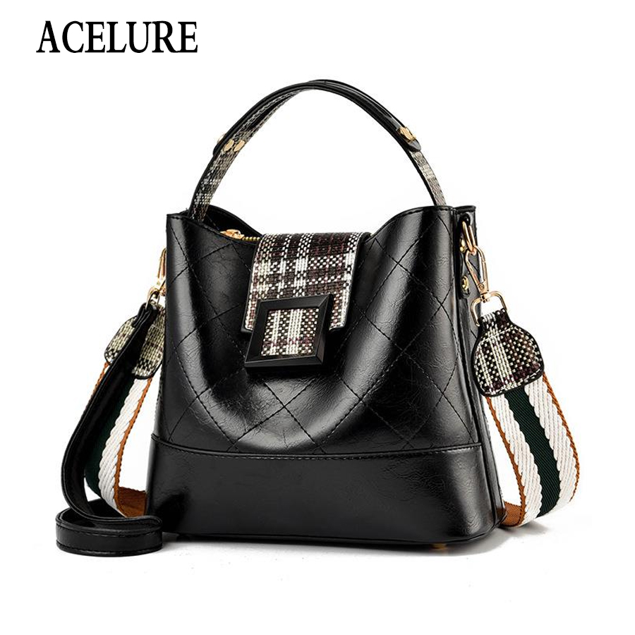 ACELURE Leather Bucket Bag Famous Brand Women Bag High Quality Female Handbags Luxury Bags For Women Shoulder Crossbody Bag