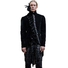 Steampunk Gothic Palace Men's Winter Asymmetric Coat Single Breasted Slim Fit Outwear Wool Dovetail Trench Coats With Feathers