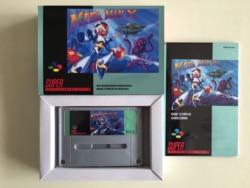 16-bitowe gry ** MEGA MAN X (francuska wersja PAL!! Box + Manual + Cartridge!!)