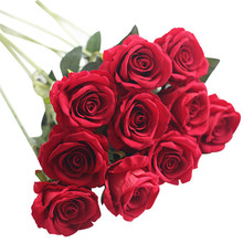 5 Pcs 2017 High Quality Beautiful Artificial Fake Roses Flannel Flower Bridal Bouquet Wedding Party Home Decor Dropshipping