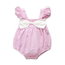 2017 Summer Baby Girl Cotton Romper Cute Girls Striped Romper Jumpsuit Kids Bowknot Outfits Clothes