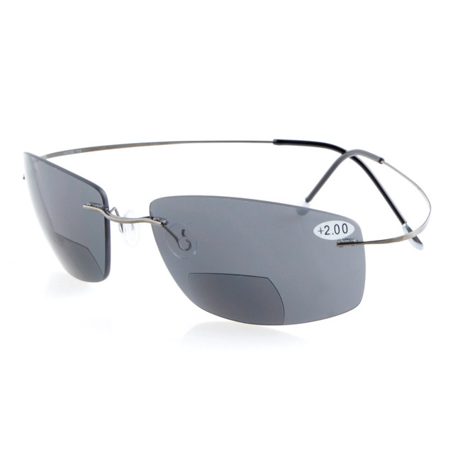 a4e029b911 S1504 Polarized Bifocal Grey Lens Eyekepper Titanium Rimless Polarized  UV400 Bifocal Sun Readers Bifocal Sunglasses+2.0 +2.5