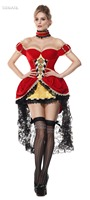 TITIVATE Sexy Red Heart Queen Halloween Masquerade Costume Deluxe TUTU Pettiskirt Overbust Fancy Dress Outfit M