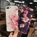 Elegante feminino elegent flores impresso anti-knock back tampa do telefone casos de proteção para iphone 6 6 s 6 plus 7 7 plus case