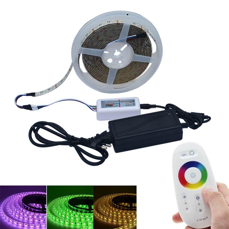 Bande de LED Jiawen 5050 DC12V RGBW bande de LED 5 M 300 lumière LED RGBW avec contrôleur tactile 3A Power et 2.4G RF