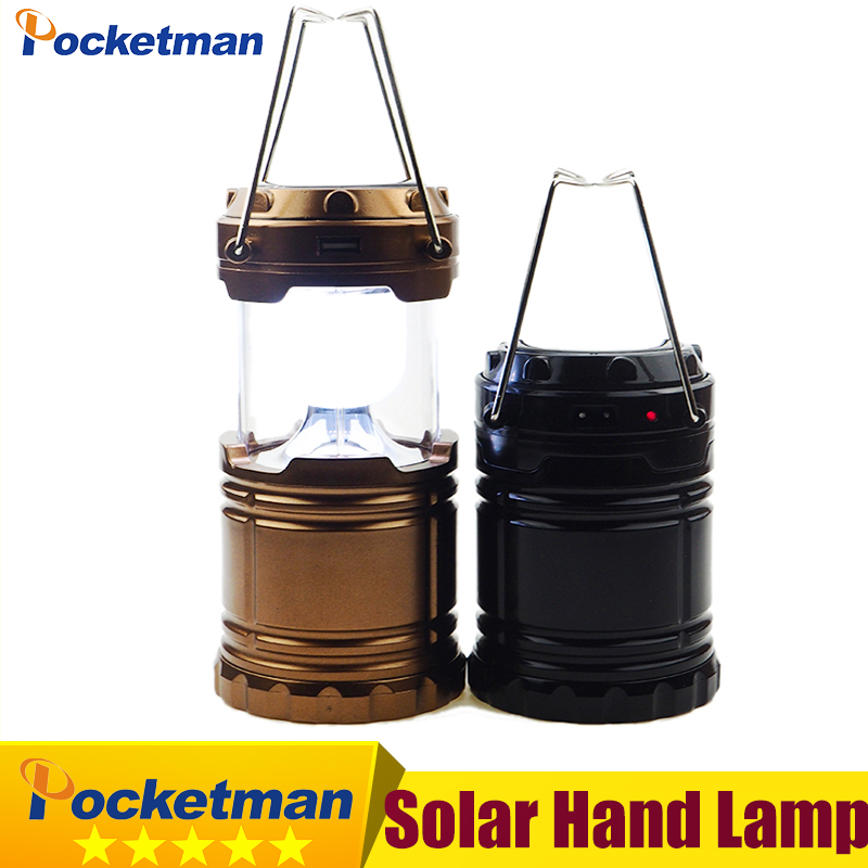 Solar Camping Lantern Rechargeable Hand Lamp Collapsible Tent Lights 6 LEDs Water Resistant for Outdoor Lighting