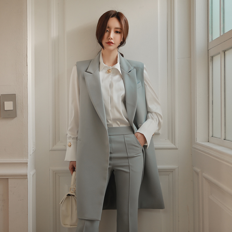 Spring new Slim long section of European and American vest jacket suit trousers OL career pants piece fitted-dod523