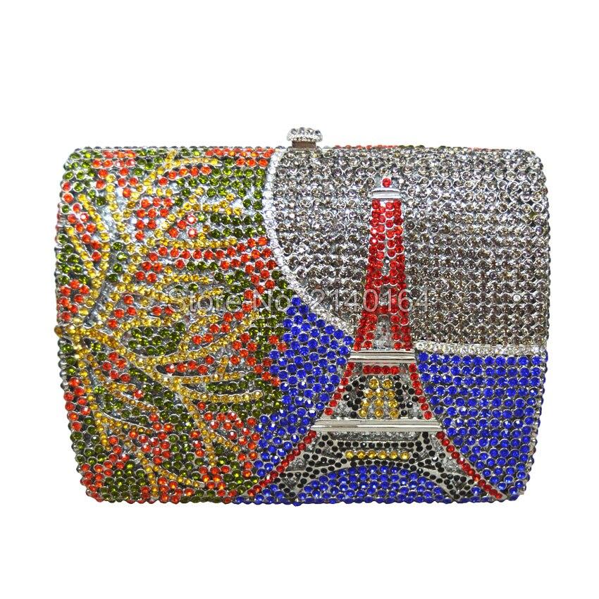 Diseño del arco iris Torre Eiffel cristal bolsa de diamantes exquisita novia de