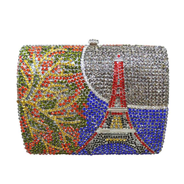 Rainbow Eiffel Tower design, diamond crystal bag