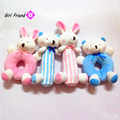 Plush Infant Baby Development Soft Rabbit Bear Animal Handbells Rattles Handle Toys