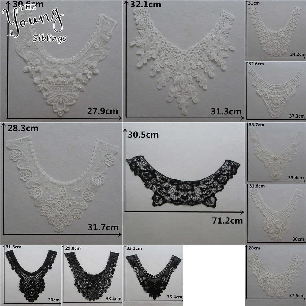 Fashion Lace Fabric Applique DIY Neckline Clothes ABS pearl Lace Collar Sewing Fabric Craft  Clothing Decoration Accessories