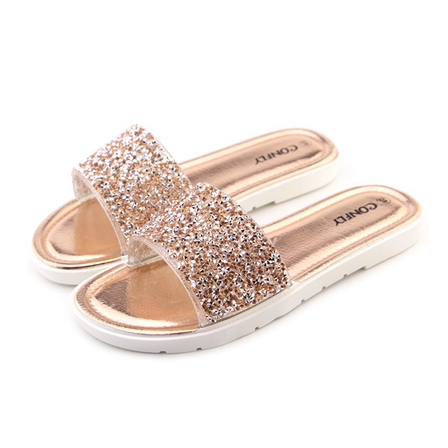 f9eac35c13f836 Women s Summer Slippers Casual Slides Women Sandals Flat Rhinestone Sandals  Flip Flops Beach Shoes Sapatos Ladies Comfortable