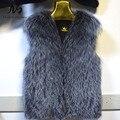 New Warm Real Silver Fox Fur Vest Winter Fashion Womens Fur Vest Genuine Fox Fur Coat Jacket Female Lady Fur Coat Factory Direct