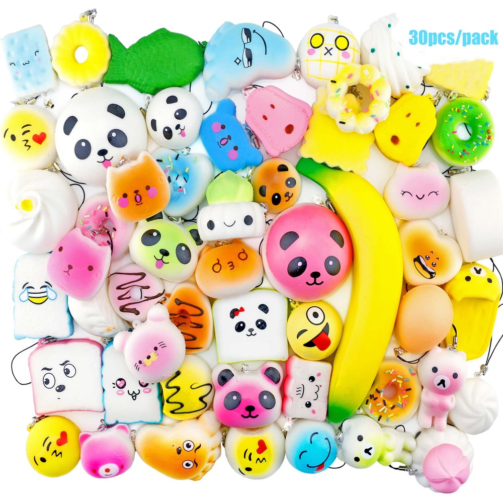 30 Piece Set Anti stress Soft Squish Cute Squishy Set Phone Mini Toys Slow Rising Squishy