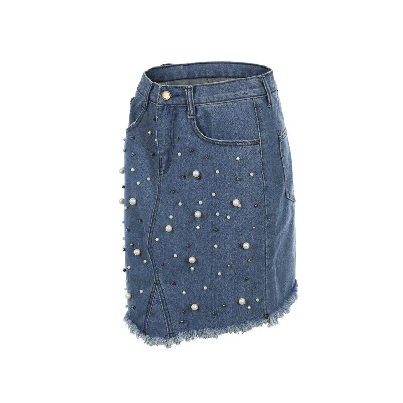 4e9dd98fdd CANIS nueva moda Jeans falda de mezclilla para mujeres señoras elegante  abalorios de cintura alta Slim Fit lápiz faldas cortas mujer en Faldas de  La ropa de ...