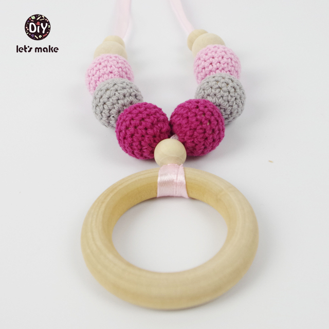 Let\'s Make Teething necklace Nursing necklace Crochet Jewelry Grey ...