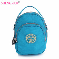 Shengxilu Small Women Handbags High Quality Solid Waterproof Nylon Casual Girls Clutch Candy Color Totes Phone
